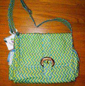 Kalencom retro bright striped midi diaper bag NWT